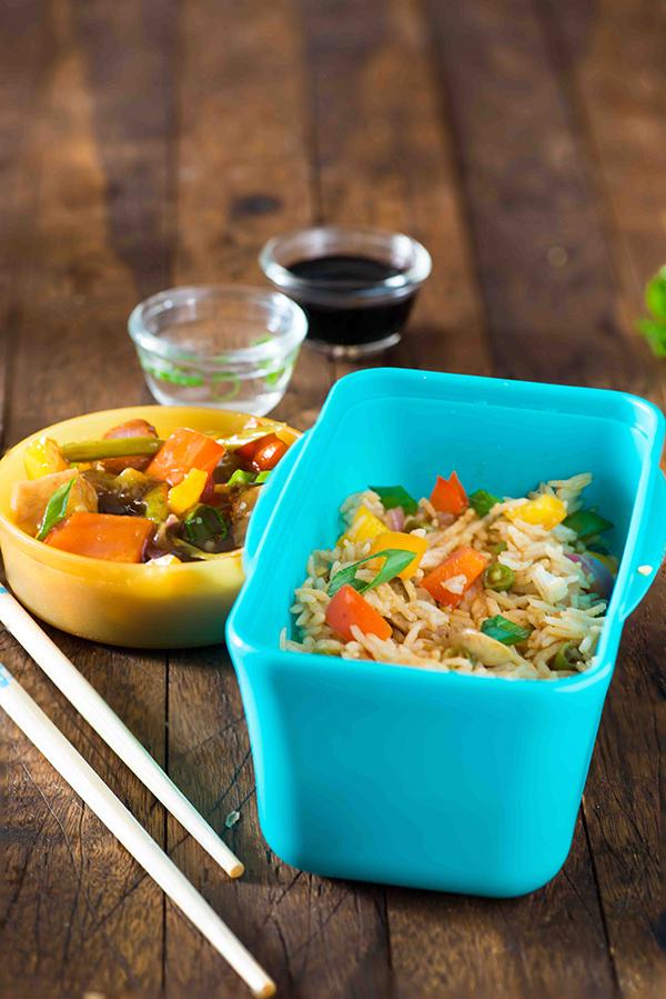 Schezwan Fried Rice Lunch Box Recipe