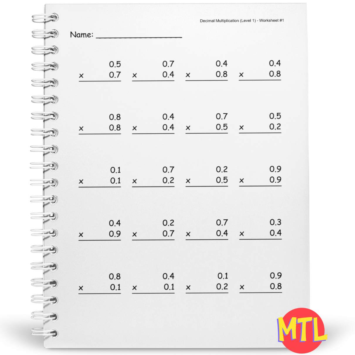 Decimal Multiplication Workbook
