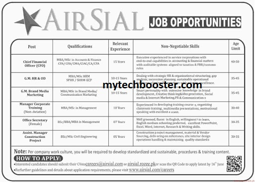- Carrers AirSial  2021 large recruitment opportunite