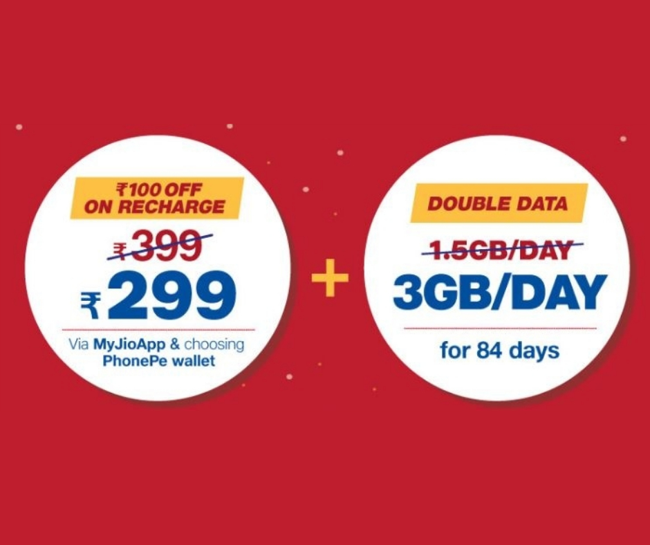 Jio Double Dhamaka Offer: 3GB data just at ₹299