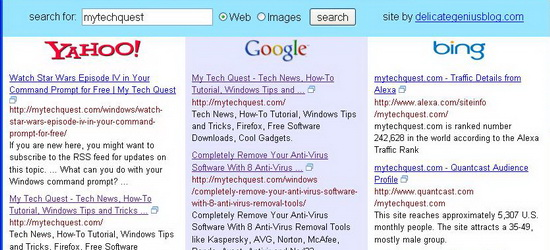 Bing image search rss
