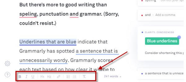 Grammarly Editor now supports Rich Text Formatting