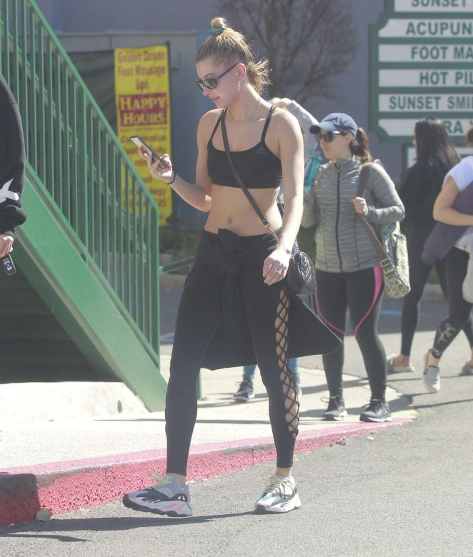 Hailey Baldwin in Tights and Sports Bra – Hits the gym in West Hollywood