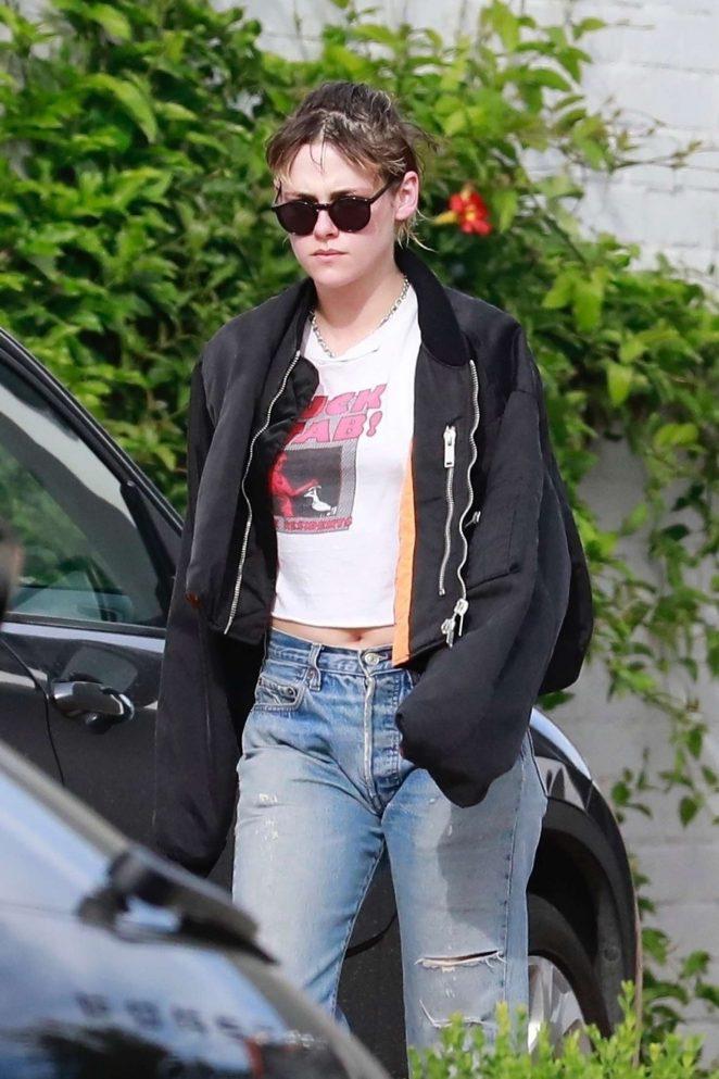 Kristen Stewart in Bomber Jacket – Leaving a spa in Los Angeles