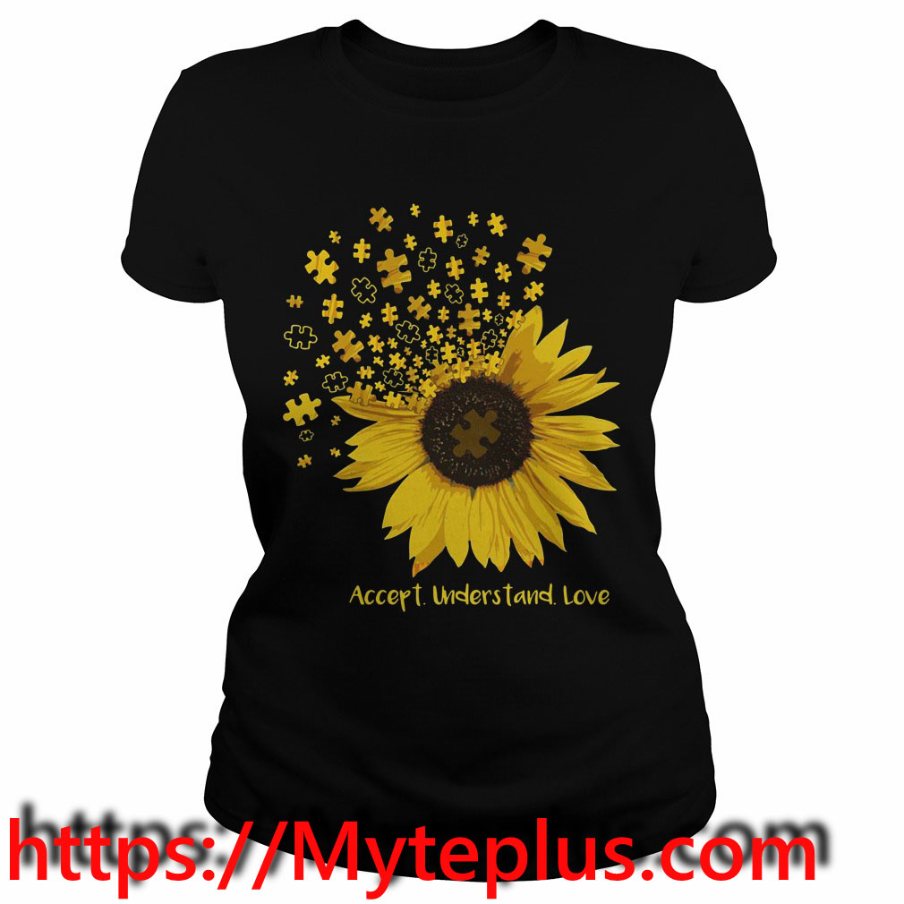 Autism sunflower accept understand love Ladies tee