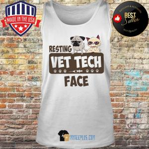 Pug and Grumpy Resting Vet Tech Face tank top