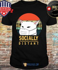 Socially distant cat vintage Covid-19 shirt