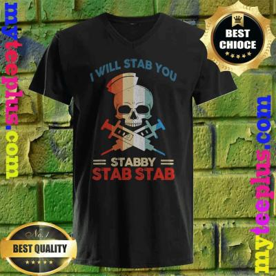 Best Skull I Will Stab You Stabby Funny Halloween Gifts v neck