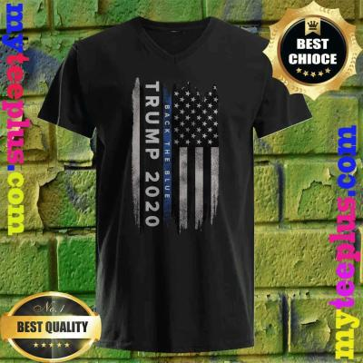 Trump Back The Blue US Flag Pro Trump Thin Blue Line v neck