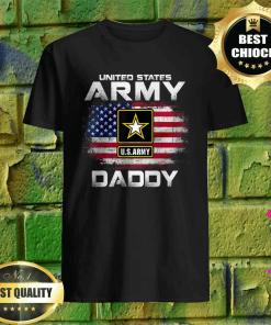 United States Army Daddy With American Flag T-Shirt