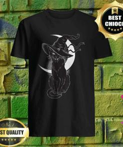 Vintage Scary Halloween Black Cat Costume Witch Hat and Moon T-shirt