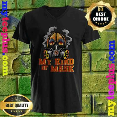 Fireman Flaming Mask My Kind Of Mask Fire Protection Gas v neck