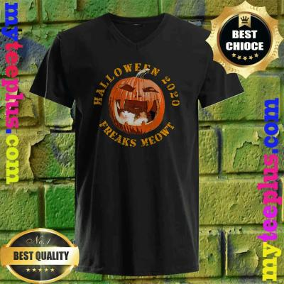 Freak Meowt Halloween 2020 Pumpkin Jackolantern Cat v neckFreak Meowt Halloween 2020 Pumpkin Jackolantern Cat v neck