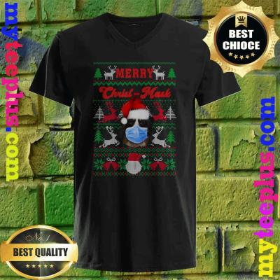 Greater Swiss Mountain Merry Christ-Mask Ugly Xmas Sweaters v neck