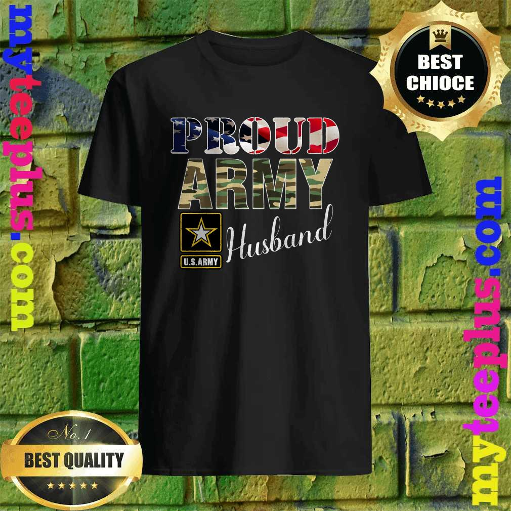 Vintage Proud Army Husband With American Flag Gift Veteran T-Shirt