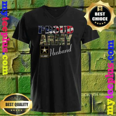 Vintage Proud Army Husband With American Flag Gift Veteran v neck