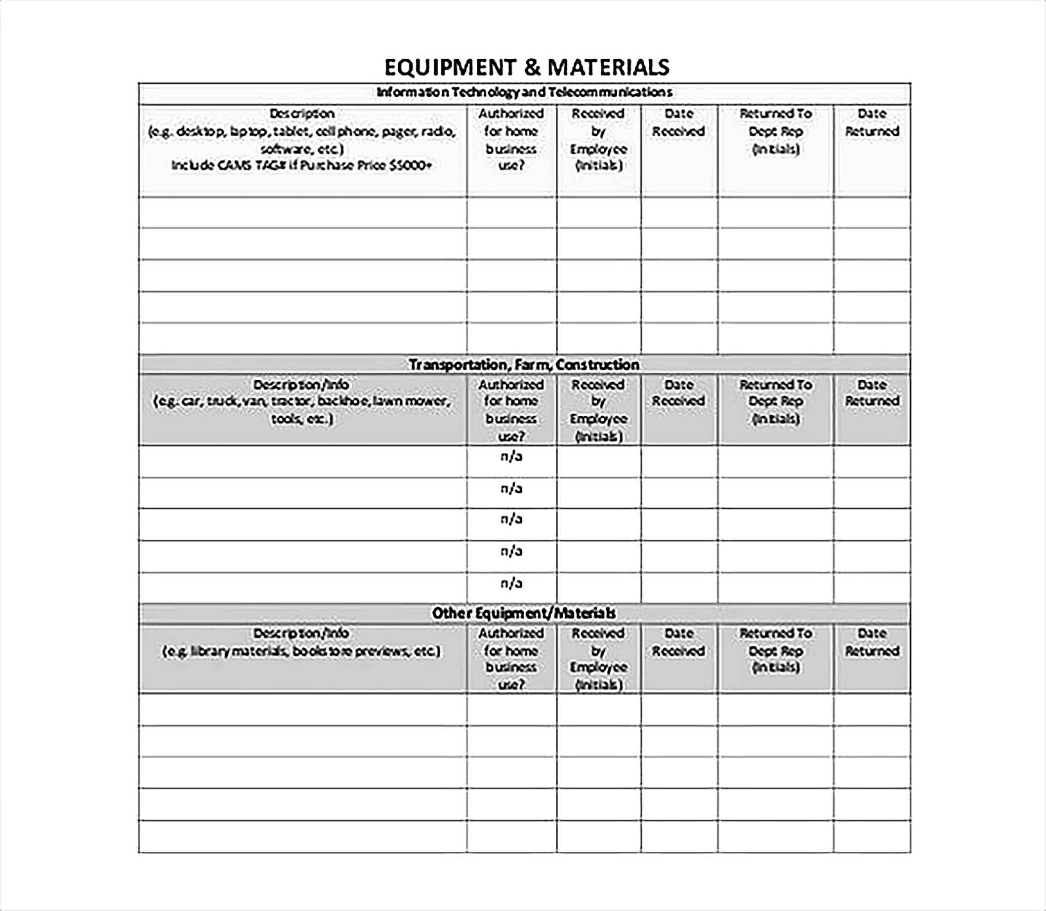 Printable Inventory Spreadsheet Template