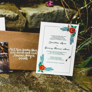 Green Turquoise Garden Party Wedding Invitations By Mountain Paper Via Oh So Beautiful