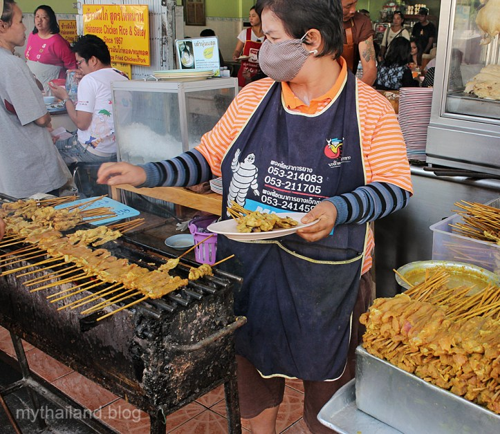 Making chicken satay in Chiang Mai