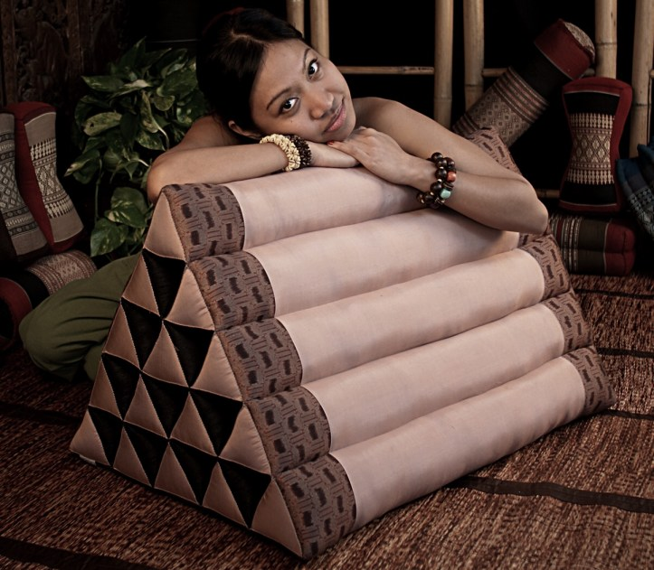 Thai triangle pillow made with plain weave Thai silk