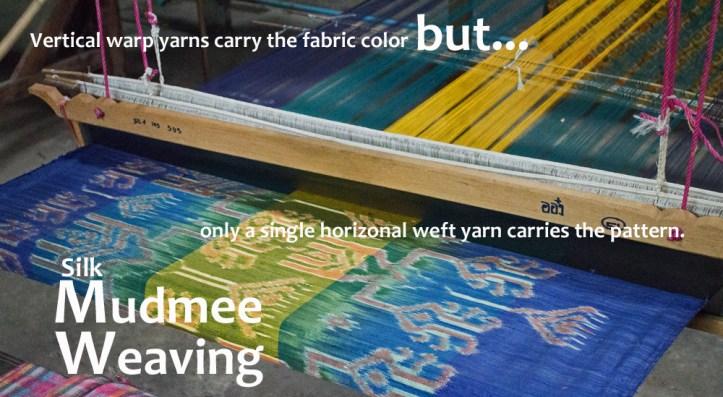 A loom set up to weave Thai mudmee silk