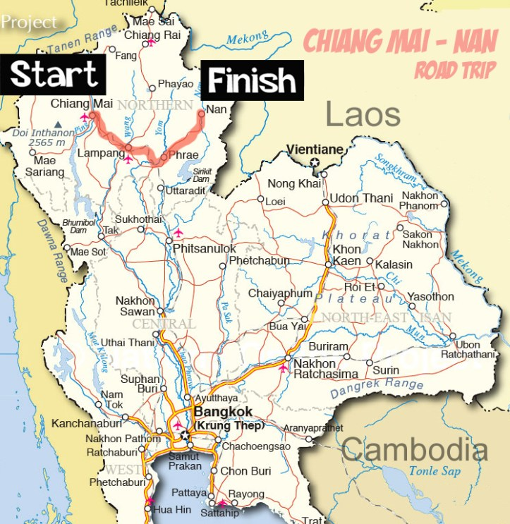 Map of Thailand Chiang Mai to Nan