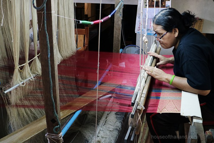 Weaving brocaded Thai silk in Ban Ta-Sa-Wan, Surin