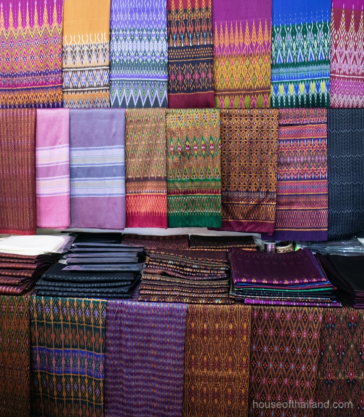 Thai silk mudmee fabric in Ban Tasawang