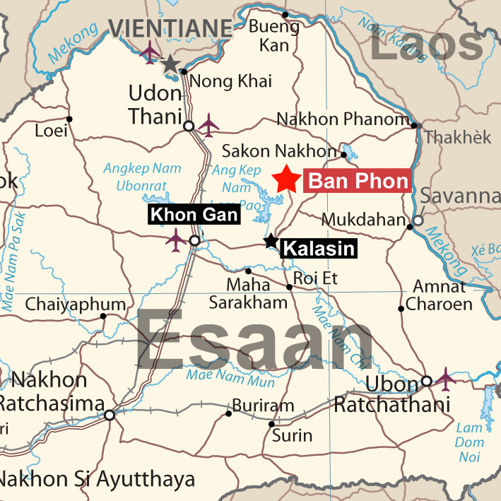 Map of Esaan and Kalasin Province