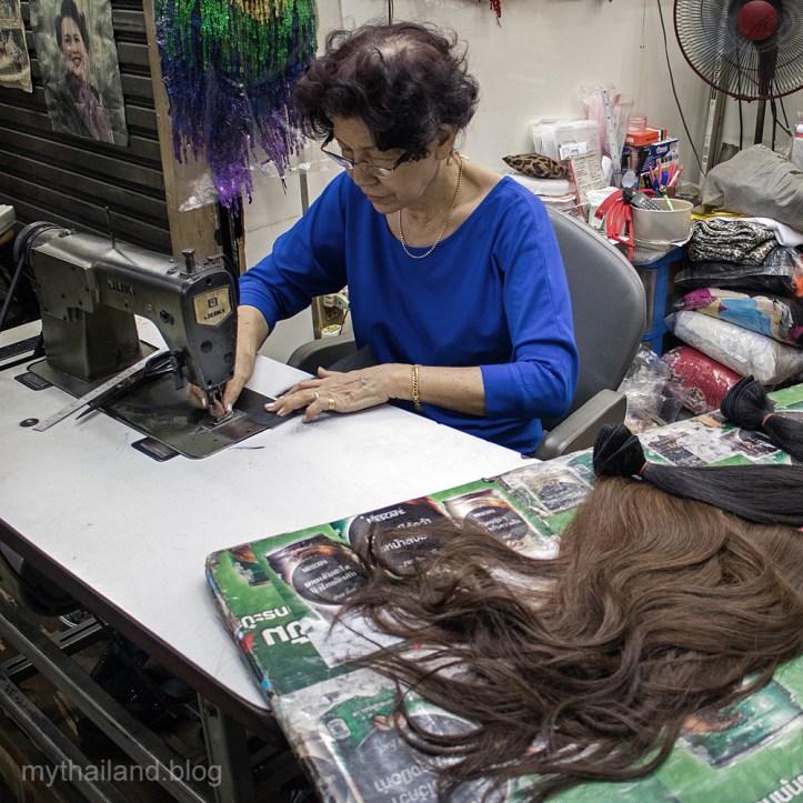 Wig making at Pratunam market