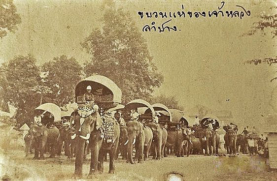 1890 Lampang, Thailand. Elephant caravan.