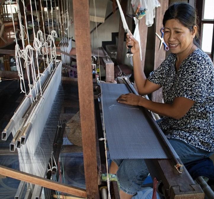 Thai silk damask woven in Surin Province