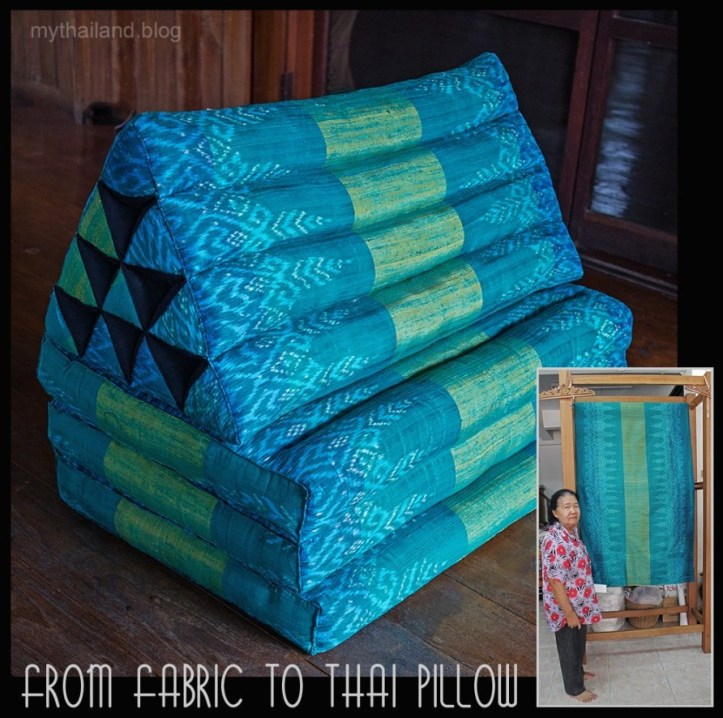 A Thai pillow made with mudmee silk