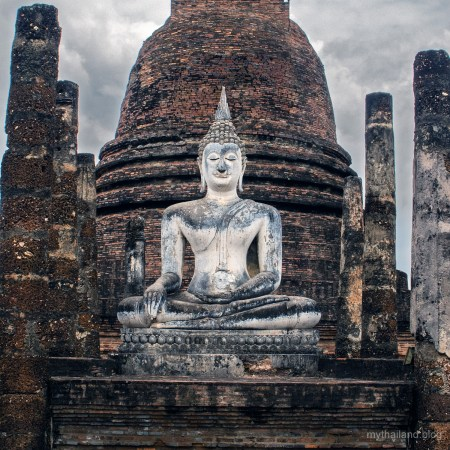 A stone Buddha at Sukhothai World Heritage Site