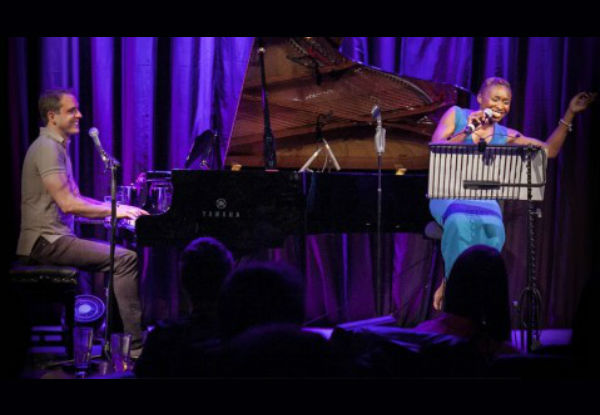 Scott Alan performing with Cynthia Erivo