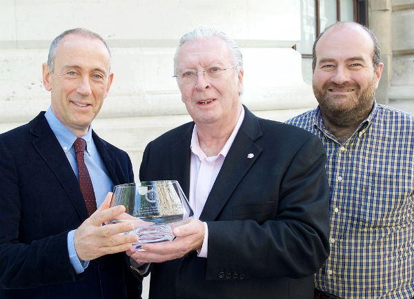 My Theatre Mates co-founder Mark Shenton (right) helped present the award to Hytner, with Jeffery Taylor