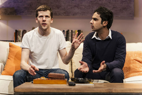 Jesse Eisenberg and Kunal Nayyar in The Spoils in New York