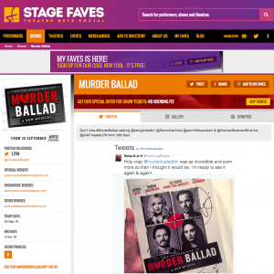 Get all social media for MURDER BALLAD & its cast on www.stagefaves.com
