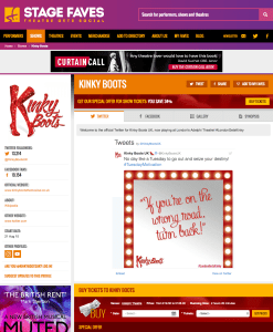 Get all social media for Kinky Boots & its cast on www.stagefaves.com