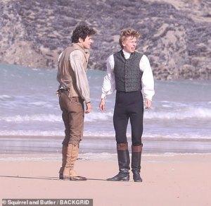 Freddie Wise (right) filming Poldark