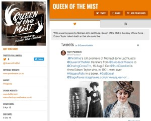 Get all social media for Queen of the Mist & its cast on www.stagefaves.com