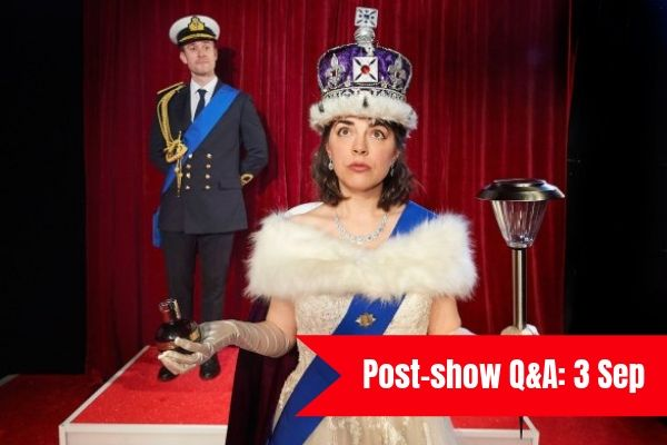 Terri Paddock chairs a post-show Q&A for The Crown Dual at Wilton's Music Hall in London on 3 September 2019