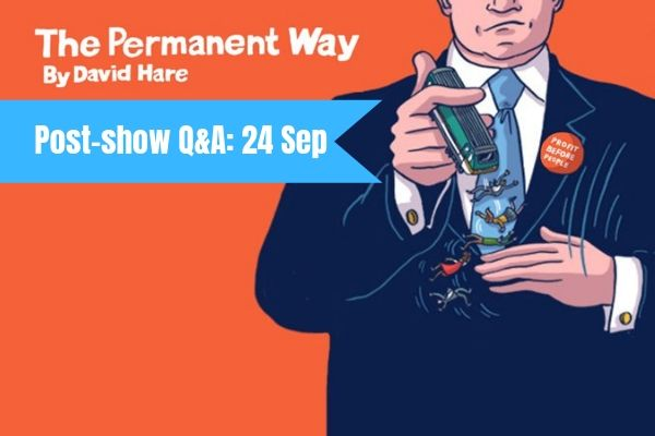 Terri Paddock chairs a post-show Q&A at The Permanent Way on 24 September 2019