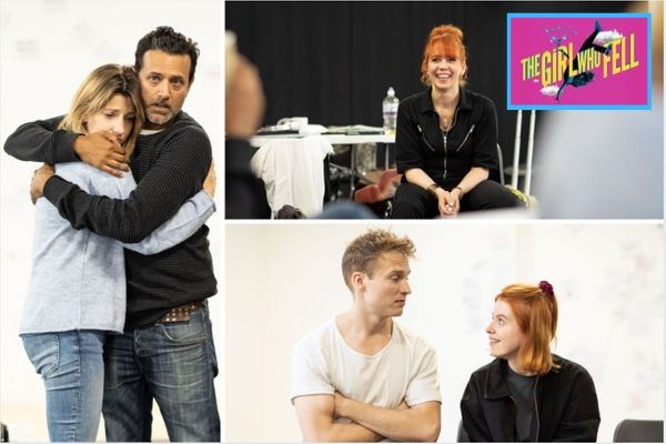 The cast of The Girl Who fell in rehearsals for its premiere at London's Trafalgar Studios. © Helen Maybanks