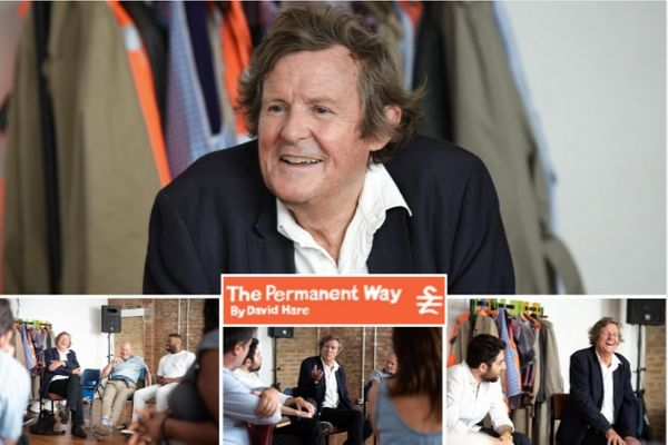 Playwright David Hare visiting the cast of The Permanent Way, revived at The Vaults, London, 2019