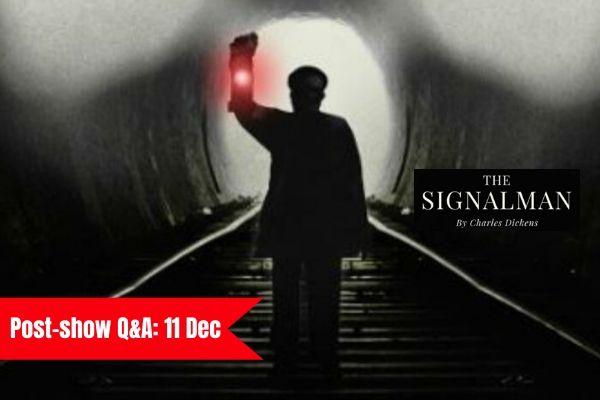Terri Paddock chairs a post-show talk for Charles Dickens' The Signalman at London's Old Red Lion Theatre on 11 December 2019