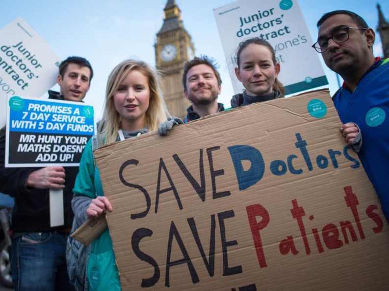 Junior doctors went on strike across England in 2016