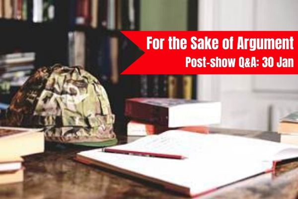 Join Terri Paddock at For the Sake of Argument post-show Q&A at London's Bridewell Theatre on 30 January 2019