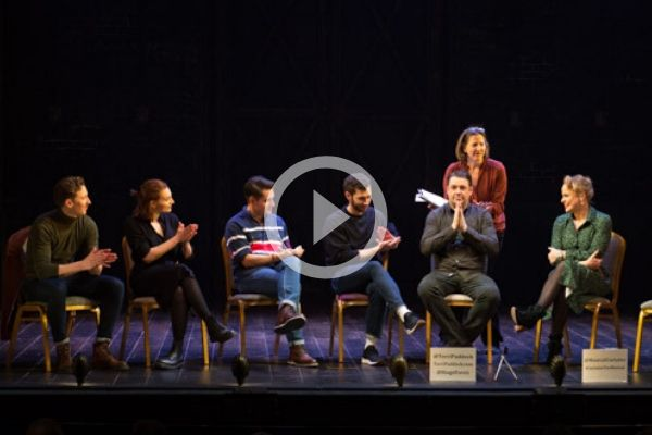 Jason Manford and co-stars at Terri Paddock's Curtains post-show talk at the West End's Wyndham's Theatre