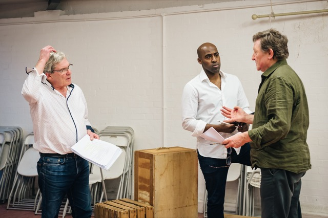 Rehearsals for COPS at London's Southwark Playhouse